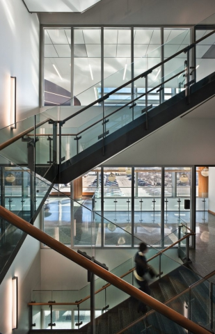 Stainless Steel Stairs and Glass Rails